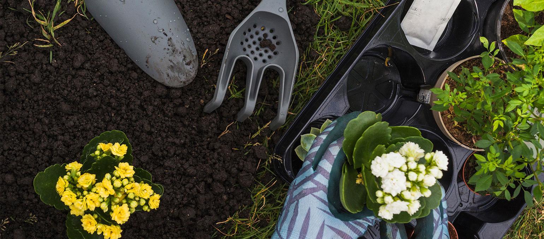 лопатка, ножица и вилица за саксии и цветя, за градината и у дома