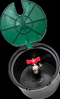 кръгла шахта с месингов кран с Т дръжка